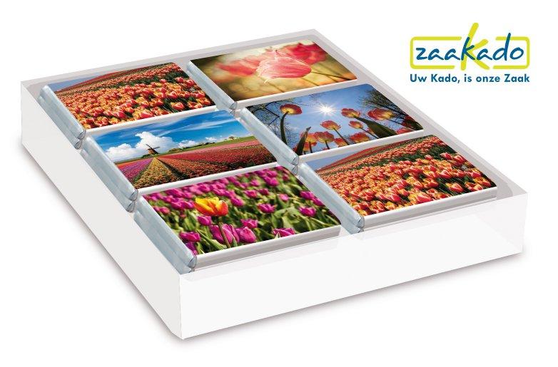 chocolaatjes verpakt in hollandse bloemen, tulpen. Leuk relatiegeschenk voor uw buitenlandse relaties, Zaakado relatiegeschenken