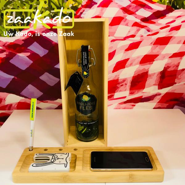 rackpack juice box wijn fles bamboe rackpack kist houten rackpack personeel uniek geschenk stijlvol geschenk giftbox draadloos Zaakado relatiegeschenken personaliseren zaakadotip giveaway rotterdam bamboo oplader