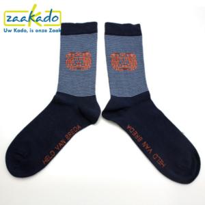 relatiegeschenken ZaaKado Rotterdam sokken detail gestreept print sokkentrend logo katoen draagcomfort hip ontwerp kleuren zwart wit oranje designs label werk sport casual home