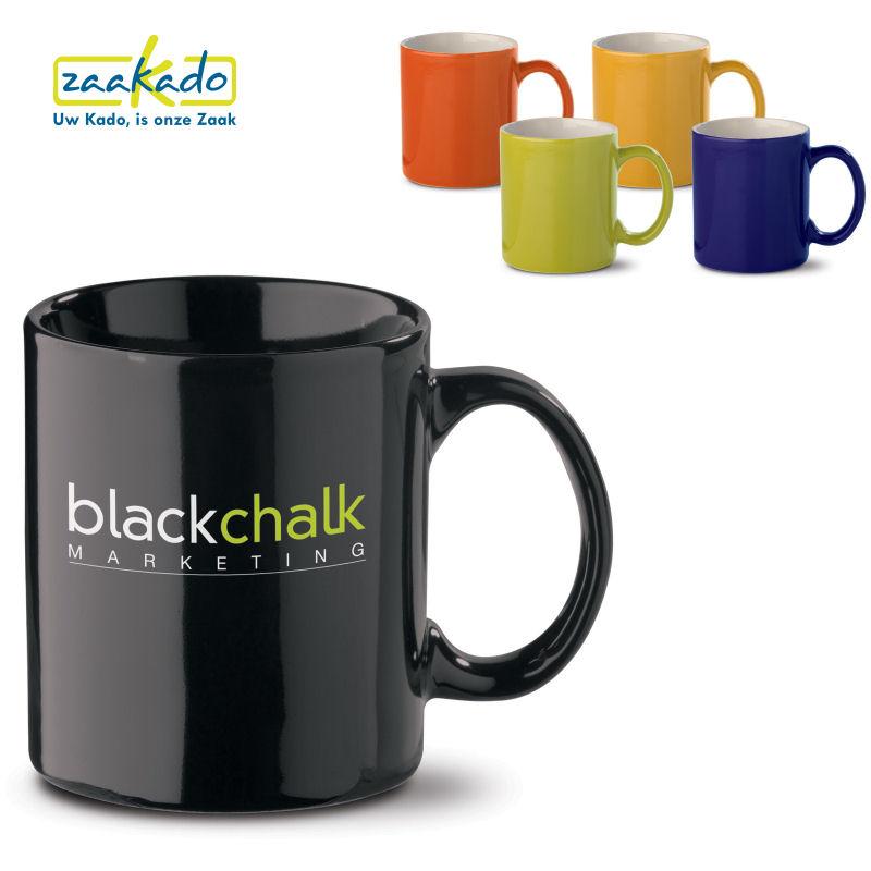 zwarte, groene, blauwe, oranje, gele bekers met logo bedrukken. Relatiegeschenken Rotterdam ZaaKado